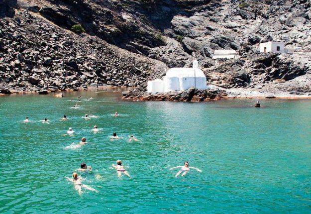 Hot Springs in Volcano of Santorini, Greece