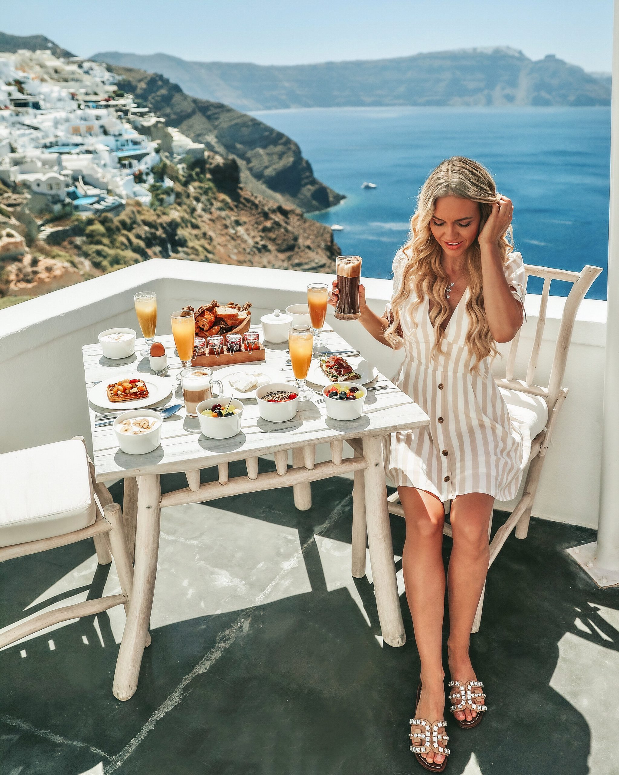 Balcony Breakfast view from Andronis Luxury Suites
