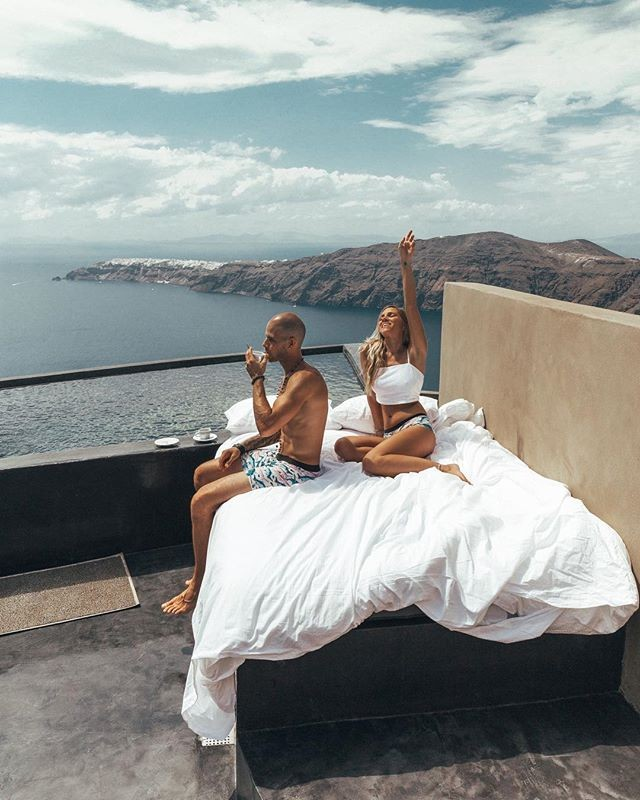 Bed in terrace, Andronis Concept, Santorini, Greece