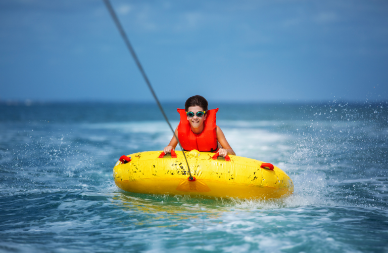 Water sport activities for families in Santorini
