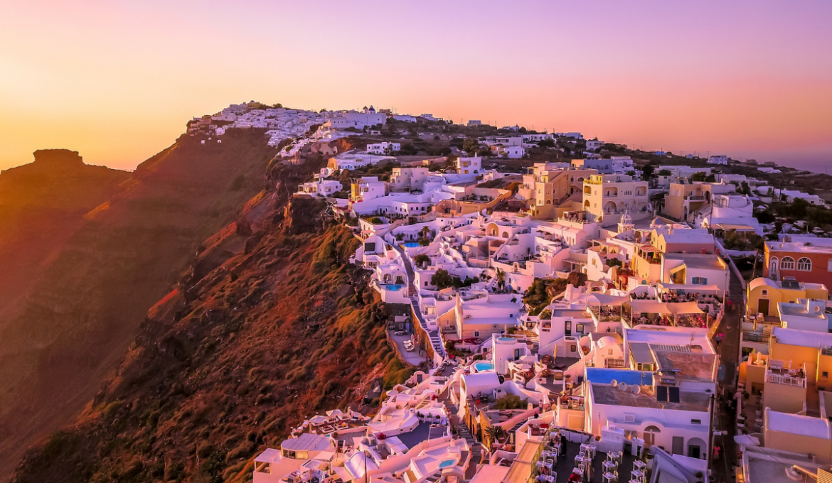 Panoramic view of Oia Santorini